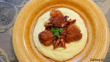 Krokante kippenlevertjes met bloemkoolpuree
