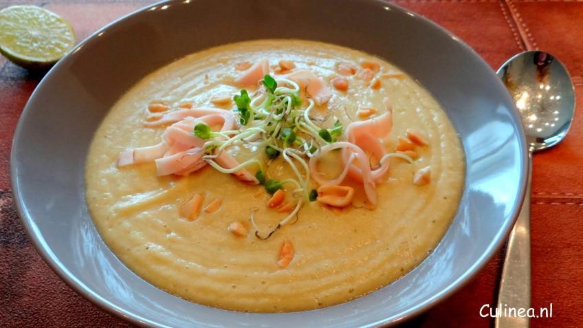 Knolselderij en koolraap currysoep