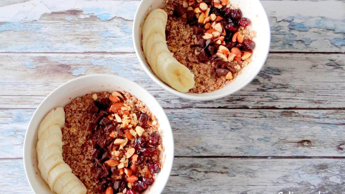 Overnight oats met choco, cranberry's, noten en banaan