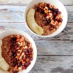 Overnight oats met choco, cranberry's, noten en banaan