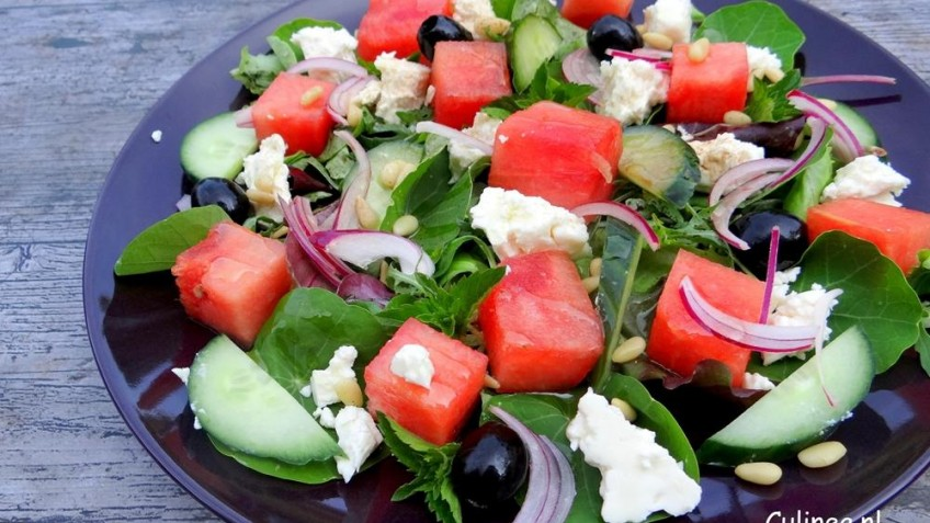 Salade met watermeloen en feta