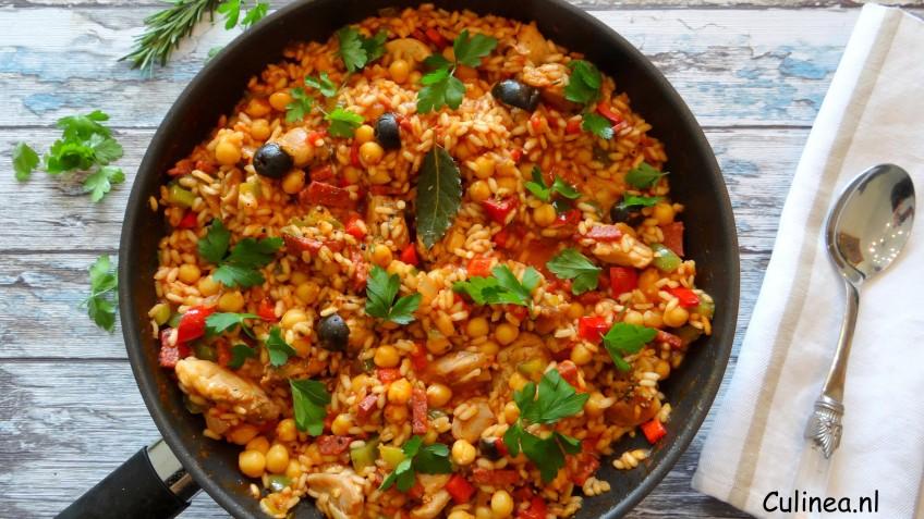 Spaanse Risotto Met Kip En Kikkererwten Culineanl