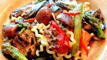 Spaghetti met gegrilde groenten