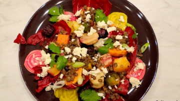 Salade met Dupuis linzen en geroosterde groenten