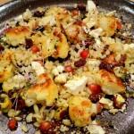 Warme salade van gebakken bloemkool met farro