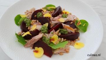 Salade met makreel, bietjes en spelt