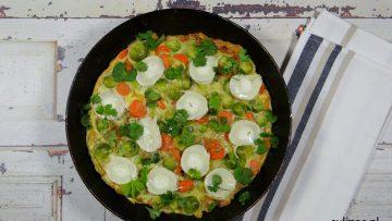 Frittata met wortel, spruitjes, geitenkaas en ras-el-hanout