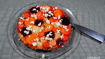 Tarte Tatin van wortel, zoete aardappel, pastinaak en biet