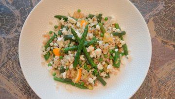 Warme Tarlysalade met asperges, boontjes en citroen