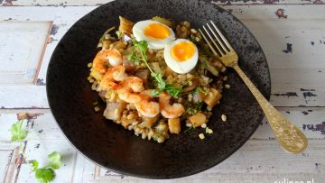 Kedgeree met tarwe en garnalen