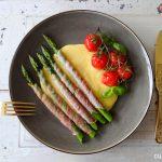 Polenta met asperges en tomaatjes uit de oven