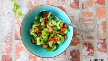 Rabarber salsa met komkommer en koriander