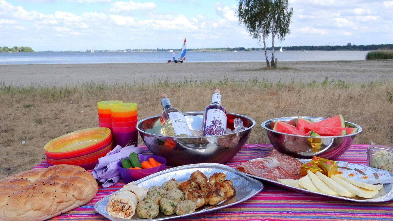 Genieten van picknick en wijn