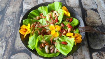 Salade met Hollandse bonenmix en uitgebakken spekjes