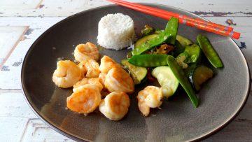 Wasabi garnalen met wokgroenten en Basmati rijst