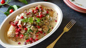 Kalkoenfilet met paddenstoelensaus en cranberries