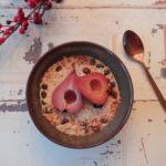 Overnight oats met stoofpeertje en cranberries