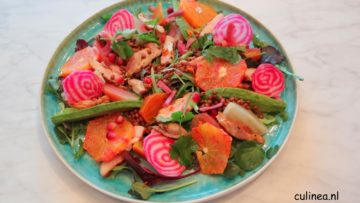 Lauwwarme salade met kippendijen, bietjes, linzen en bloedsinaasappel