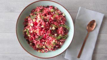 Parelcouscous salade met bietjes, mierikswortel en dille