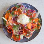 Salade rode kool, wortel, venkel, bloedsinaasappel en burrata