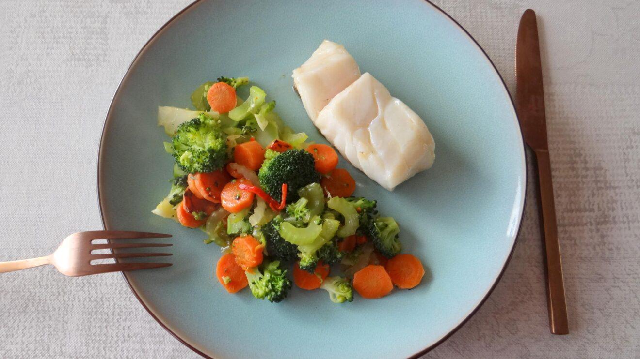 Skrei met roergebakken groenten