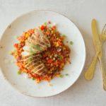 Kalkoenfilet met couscous van gekleurde wortelen