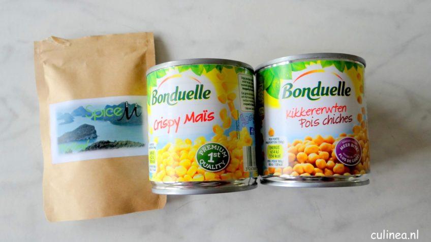 Hummus gemaakt van maïs en kikkererwten