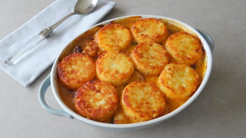 Ovenschotel met kip, groente en rösti
