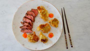 Bavette met oesterzwammen tempura