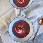 Truffel aardappel en rode koolsoep