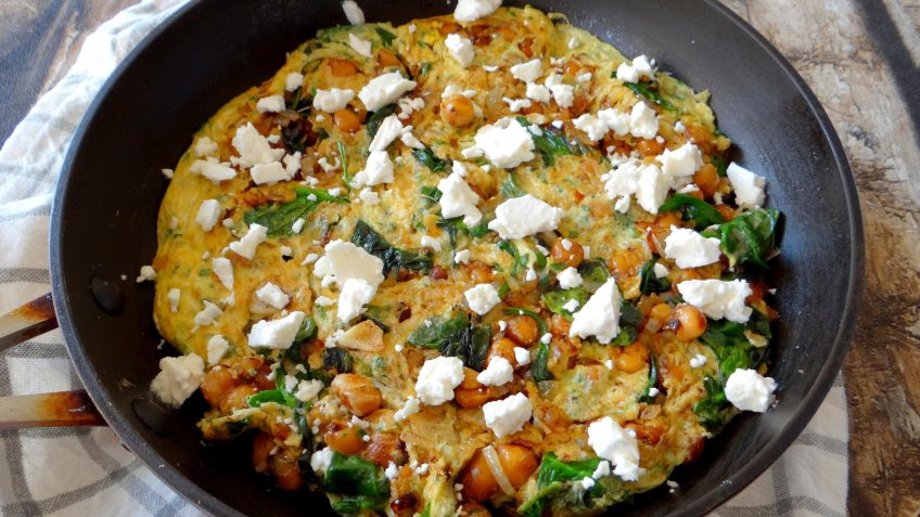 Kikkererwten spinazie kruidenomelet