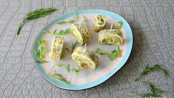 Omeletrolletjes met gerookte zalm en avocadocrème