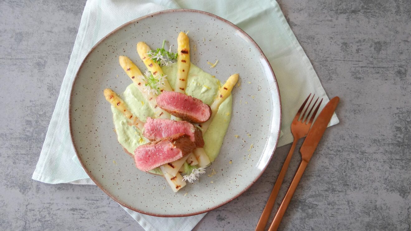 Lamsfilet met gegrilde asperges