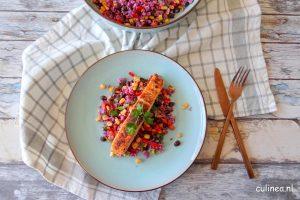 Mexicaanse paarse bloemkoolrijst salade