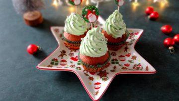 Red velvet Kerst cupcakes