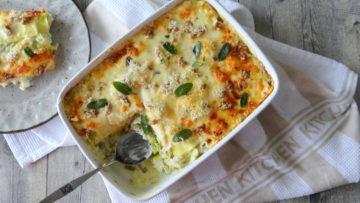 Lasagne met prei en walnoten
