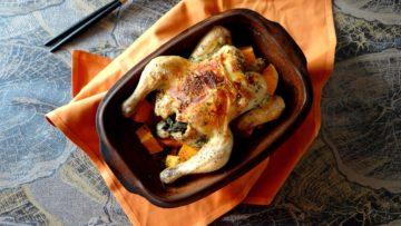 Römertopf met kip en zoete aardappel