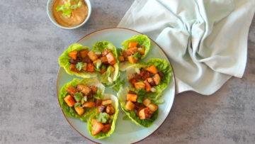 Vegetarische slawraps met tempeh