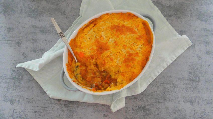 Italiaanse ovenschotel met zoete aardappelpuree