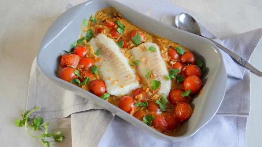 Kokos tomaten curry met kabeljauw
