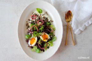Salade met crispy linzen