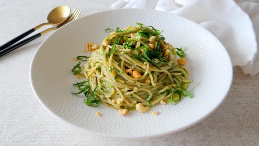 Spaghetti met daslookpesto