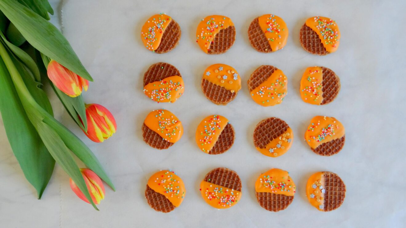 Mini stroopwafels met oranje chocolade