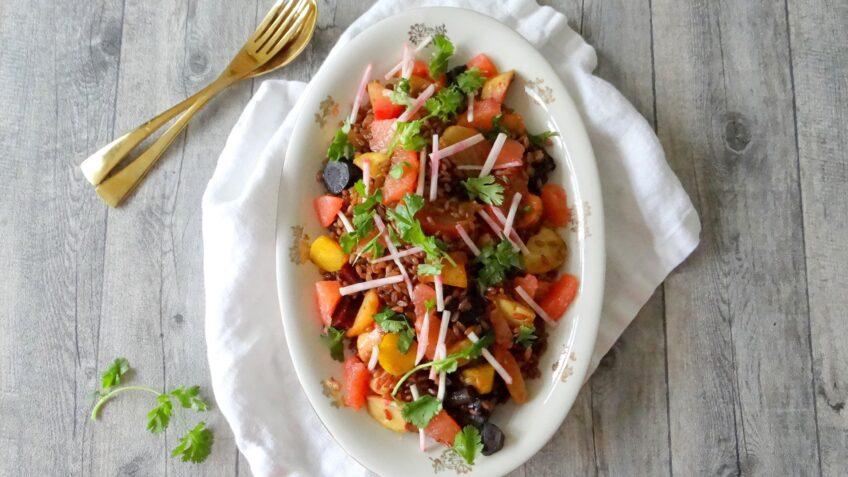 Speltsalade met groenten uit de polder