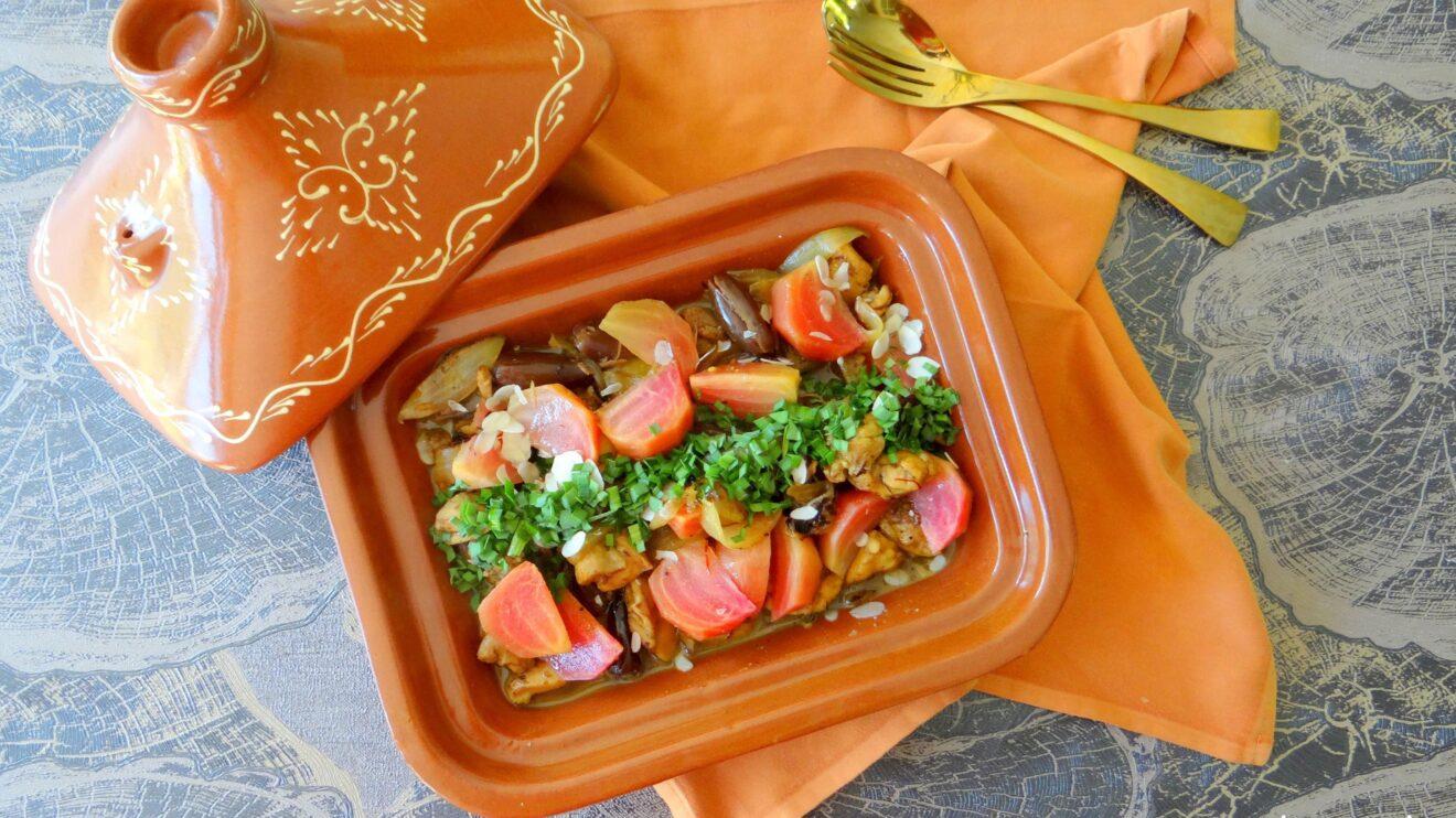 Tajine met kip, dadels en saffraan