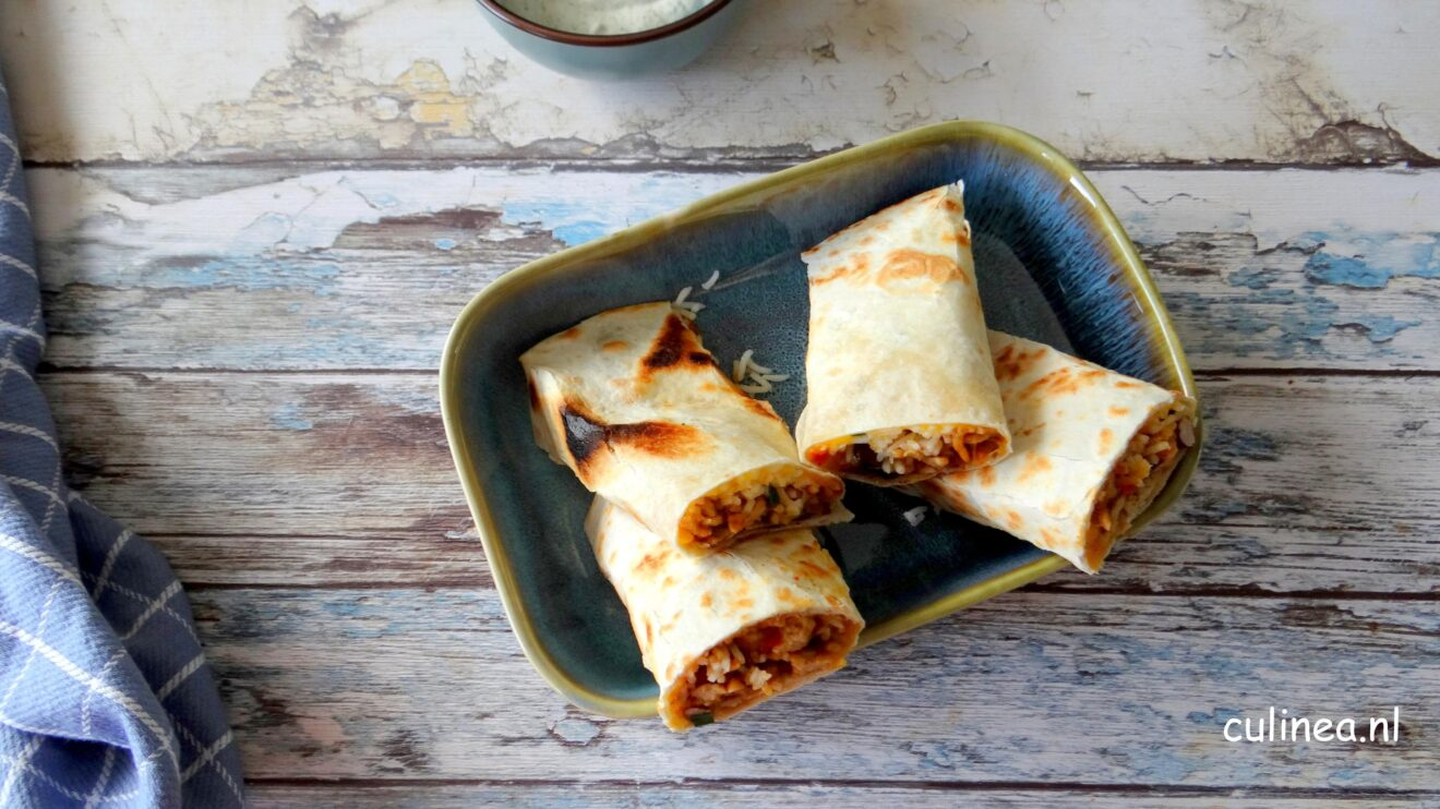 Burrito met kipgehakt en rijst
