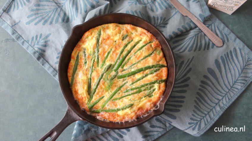 Frittata met groene asperges en geitenkaas