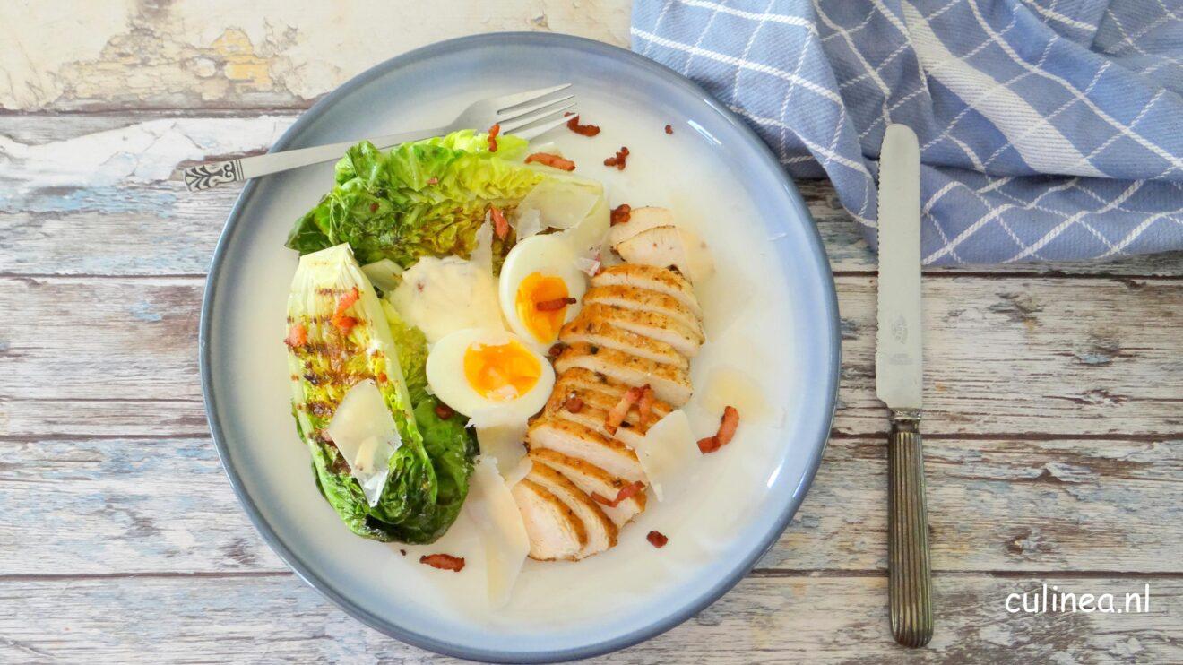 Gegrilde Caesar salade met kip
