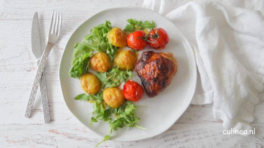 Mosterd kip en aardappelen uit de oven