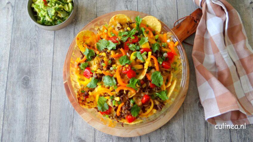 Nachos met gehakt en kaas
